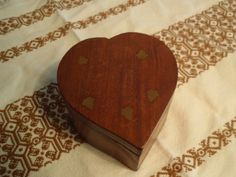 Indian Wood Wooden Heart Shaped Jewelry Box With Brass Inlay. Trinket Box…