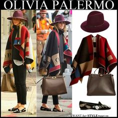WHAT SHE WORE: Olivia Palermo in purple hat with Burberry blanket poncho and black skinny jeans walking her dog, October 2014 Outfits With Hats, Casual Outfits, Burberry Poncho, Blanket Poncho, Sleeveless Coat, Olivia Palermo Style, Blue Skinny Jeans, Black Skinnies, Wearing Black
