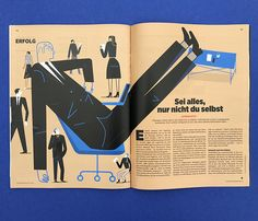 """Stephanie Wunderlich illustrates a double-page spread on authenticity for Wirtschaftswoche, a German business magazine. The article entitled, """"Be whatever Magazine Layout Design, Book Design Layout, Print Layout, Editorial Layout, Editorial Design, Web Design, Buch Design, Magazin Design, Illustrator"""