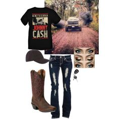 Johnny Cash by taylor-125 on Polyvore featuring polyvore, fashion, style, Ariat and Armani Jeans