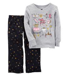 "Girls 4-14 Carter's ""Let's Twirl"" Ballet Graphic Top & Glitter Hearts Bottoms Pajama Set, Size: 14, Black"