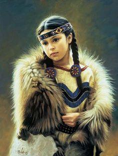 Native American Art, Oil on canvas by Karen Noles Native Child, Native American Children, Native American Beauty, American Indian Art, Native American History, American Indians, Native American Paintings, Native American Pictures, Indian Pictures