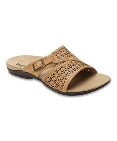 cdda5c129d83 Dr. Andrew Weil Footwear Camel Path Leather Slide