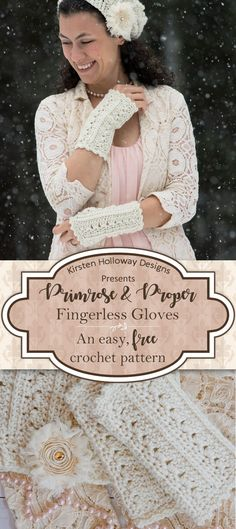 These beautiful, Victorian style, lace fingerless gloves are quick and easy to crochet with this free pattern! Simple enough for the advanced beginner, these DIY hand warmers are sure to be a wardrobe and crafting favorite! There's also a hat and scarf pa