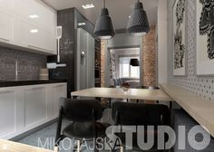 industrialna kuchnia - zdjęcie od MIKOŁAJSKAstudio - Kuchnia - Styl Industrialny - MIKOŁAJSKAstudio Kitchen Dining, Dining Room, Dom, Conference Room, House Design, Table, Furniture, Home Decor, Interiors