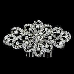 Bridal Floral Hair Comb Tiara Clear Austrian Rhinestone Crystal