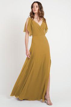 Bridesmaid Dress Colors, Bridesmaids, Dress Codes, Flutter Sleeve, A Line Skirts, Dress Making, Beautiful Dresses, Wrap Dress, Cold Shoulder Dress
