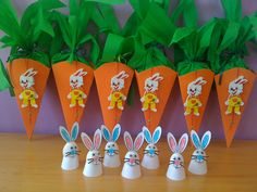 rabbits and carrots for easter