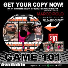 Available Today!! MARCO POLO By: JUICE J-ULA!! Video Released On that Game 101 DVD EDITION !! Get Your Copy NOW!! For only $10 For 10+ DVD Orders Email us at wearestreetvibes@gmail.com #Game101 #Faceworld #Marco #Polo #Wearestreetvibes #Juicejula #Rickb #KevinGates #DVD #SV
