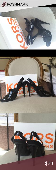 Michael Kors black patent leather heeled sandals Kors Michael Kors black patent leather sandals in excellent condition! Comes with box. KORS Michael Kors Shoes Heels