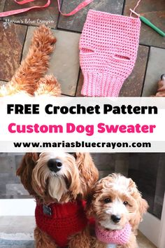 Crochet Basic Dog Sweater - Tutorial gratuito paso a paso - Maria& Blue Crayon Crochet Dog Sweater Free Pattern, Crochet Dog Patterns, Crochet Stitches, Dog Crochet, Crochet Cardigan, Crochet Dog Clothes, Pet Clothes, Dog Clothing, Small Dog Sweaters