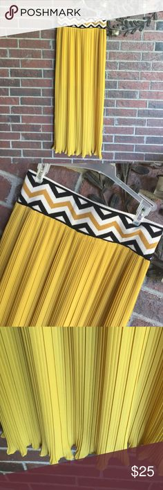 Lucy & Laurel mustard chevron maxi skirt size S This is so cute and unique! Features lining on the inside that goes to knees.  Size small with measurements of 14 in waist and 42 in long.  (1024VT) lucy & laurel Skirts Maxi