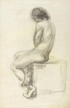 """VICTORICA, Miguel Carlos Argentino 1884-1955 """"DESNUDO DE ESPALDA"""" Dibujo en lápiz y carbonilla. Firmado M.C. VICTORICA abajo a la derecha. Medidas: 53 x 34 cm."""