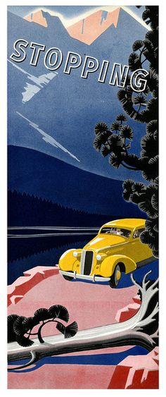 art deco illustration Tom & Daisy's car in Gatsby