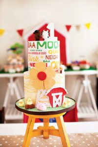 modern farm birthday party cake
