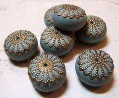 Handmade Polymer Clay Beads Set Denim Blue Jewelry Supplies Rondelles Antique Brass Bead Caps...Calypso. $14.00, via Etsy.