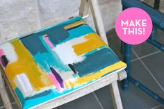 25 DIYs to Spruce Up Your Patio like making a canvas awning, pallet bed and painted chair cushions (via Prudent Baby) Handmade Furniture, Diy Furniture, Painted Furniture, Diy Wanddekorationen, Dyi, Diy Design, Design Ideas, Patio Cushions, Seat Cushions