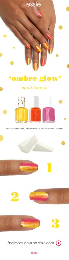 there's nothing mellow about this pop of color. essie's 1000th shade 'aim to misbehave' has its sight set on partying until the sun comes up. recreate this scandalous ombre nail art design by essie using 'meet me at sunset' and 'mod square'