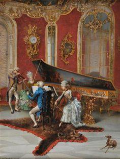 Oreste CORTAZZO (né à Rome en 1836)   Concert dans un salon Louis XV avec clavecin et peau d'ours