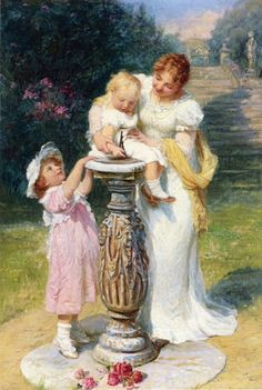 Never Mind by Fred Morgan Two Little Girls /& A Doll