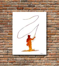 Fly Fishing Art Print - Abstract Watercolor Painting - Wall Décor This is a professional quality giclee print from my original hand painted