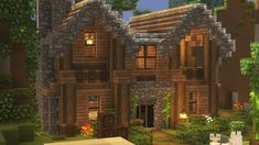Here's the the house that took me. eh who's counting : Minecraft Minecraft Cabin, Minecraft Cottage, Cute Minecraft Houses, Minecraft Mansion, Minecraft House Tutorials, Minecraft Houses Survival, Minecraft Plans, Minecraft Houses Blueprints, Minecraft House Designs