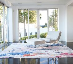In partnership with Zoë Pawlak, Burritt Bros. Carpet & Floors is launching a line of graphic area rugs inspired by Pawlak's contemporary artwork. Interior Rugs, Interior Design, Living Room Decor, Living Spaces, Living Rooms, Ocean Rug, New Room, Beautiful Interiors, Floor Rugs
