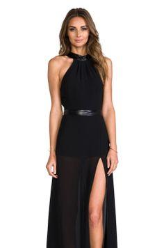 JARLO Juliet Maxi Dress with Slit in Black (RC)