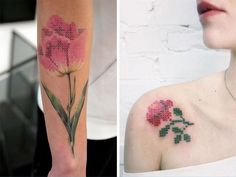 When you think about it, embroidery and tattooing have a lot in common. They both require a needle to get started, involve a fair bit of poking, and p. Cross Stitch Tattoo, Embroidery Tattoo, Tattoos Gallery, Cross Stitching, Tattoo Inspiration, Tattoo Artists, Fashion Art, Watercolor Tattoo, Body Art