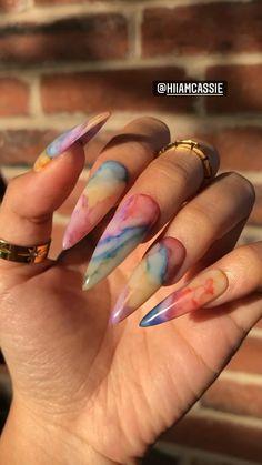 Stylish Nails, Trendy Nails, Long Cute Nails, Crome Nails, Do It Yourself Nails, Long Acrylic Nails, Colourful Acrylic Nails, Marble Acrylic Nails, Acrylic Nails Stiletto