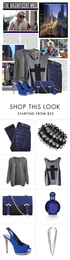"""""""Magnificent Mile"""" by heidior ❤ liked on Polyvore featuring Nobody Denim, Miss Selfridge, Reiss, Britney Spears, Madden Girl, glitter, royal blue, cardigan, chic and silver"""