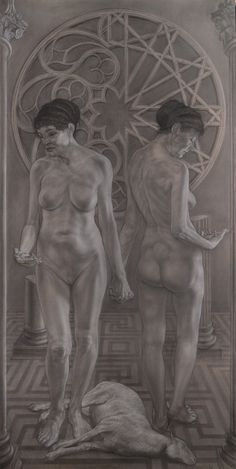 """The two Hypatias"" pencil and white conté cm 100x200"