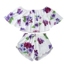 5a8ad9b932f0b3 Off Shoulder Floral Crop Top And Shorts White ( 16) ❤ liked on Polyvore  featuring
