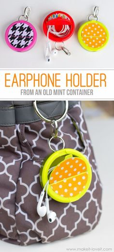 Best DIY Ideas for Teens To Make This Summer - Earphone Holder From Mint Container - Fun and Easy Crafts, Room Decor, Toys and Craft Projects to Make And Sell - Cool Gifts for Friends, Awesome Things To Do When You Are Bored - Teenagers - Boys and Girls Love Making These Creative Projects With Step by Step Tutorials and Instructions http://diyprojectsforteens.com/best-ideas-teens-summer