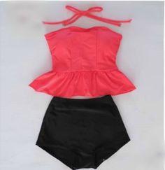 Tube-top-dress-top-vintage-high-waist-female-split-swimwear-hot-spring-swimsuit-bikini-1