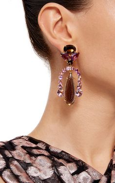 BOUNKIT Amethyst And Carved Smoky Topaz Clip-On Earrings