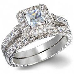 $990 GIA Certified 1 Carat Princess cut Diamond Vintage Wedding Ring Set in White Gold - JeenJewels