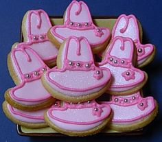 Edible pink hats, 3 words I love Cute Cookies, Cupcake Cookies, Sugar Cookies, Cupcakes, Cookie Decorating Icing, Cookie Frosting, Cowgirl Birthday, Cowgirl Party, Cowgirl Cookies
