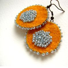Sunshine felt and bead handmade earrings by VesztlFanni on Etsy, $17.00
