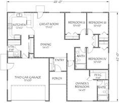 Traditional Style House Plan - 4 Beds 2 Baths 1500 Sq/Ft Plan #24-211 Floor Plan - Main Floor Plan - Houseplans.com