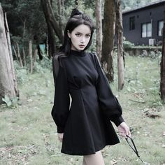 Witch dress - New arrival women Spring Autumn Gothic Punk Mini dress High quality Long sleeve sexy Black dress Fashion dresses Female – Witch dress Witchy Dress, Goth Dress, Black Witch Dress, Modern Witch Fashion, Gothic Fashion, Steampunk Fashion, Emo Fashion, Casual Goth, Mein Style