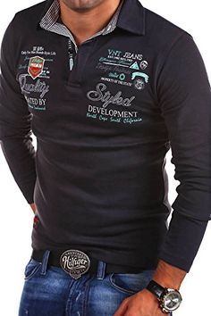 MT Styles Langarm Poloshirt EXCURSION T-Shirt R-0657 [Dunkelgrau, XL]