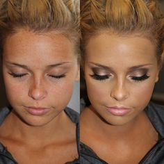 White in the corner, champagne shimmer on lid, gray outer lid, black shadow crease