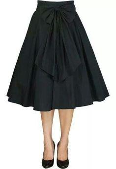 Chic Star black circle skirt with detachable bow sash