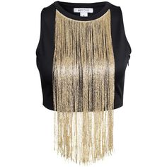 Nly One High Neck Fringetop (51 CAD) ❤ liked on Polyvore featuring tops, crop top, shirts, crop, black, womens-fashion, tall tops, tall shirts, shirts & tops and sleeveless tops