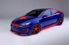 2013 Chicago Auto Show - Crazy Superman themed Kia Optima Hybrid. Kia Motors, Kia Optima, Diesel, Chicago Auto Show, Gadgets, Love Car, Man Of Steel, Batmobile, Car Wallpapers