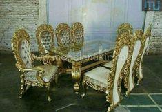 Meja Makan Mewah - Furniture Jepara - Furniture Jepara Sunroom Furniture, Royal Furniture, Victorian Furniture, Victorian Sofa, Luxury Furniture, Furniture Decor, Modern Furniture, Furniture Design, Luxury Dining Tables