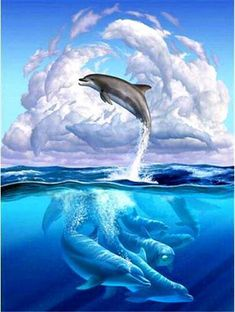 grande × - Delphine - Home Orcas, Water Animals, Animals And Pets, Beautiful Creatures, Animals Beautiful, Dolphin Art, Dolphin Painting, Painting Art, Delphine