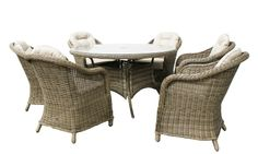 Mustique - 135cm Ø Table & 6 Rounded Armchairs Champagne Rattan