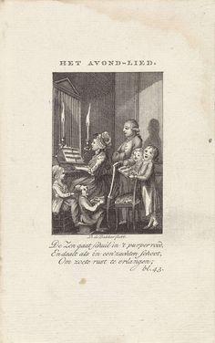 Kinderen met hun vader en moeder zingen bij een orgel, Barent de Bakker, 1789